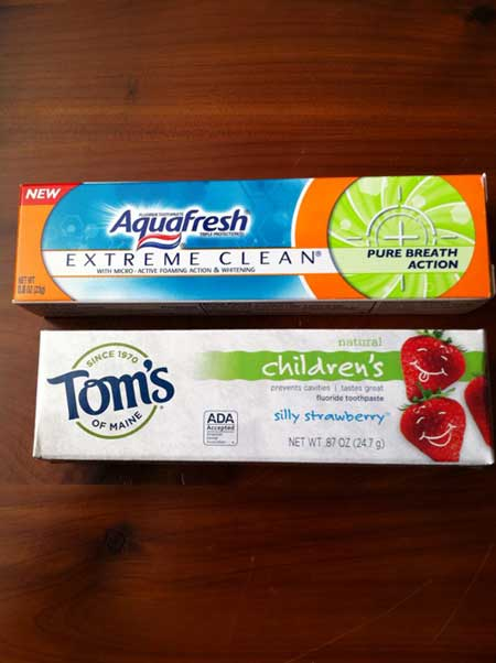 Toothpaste samples