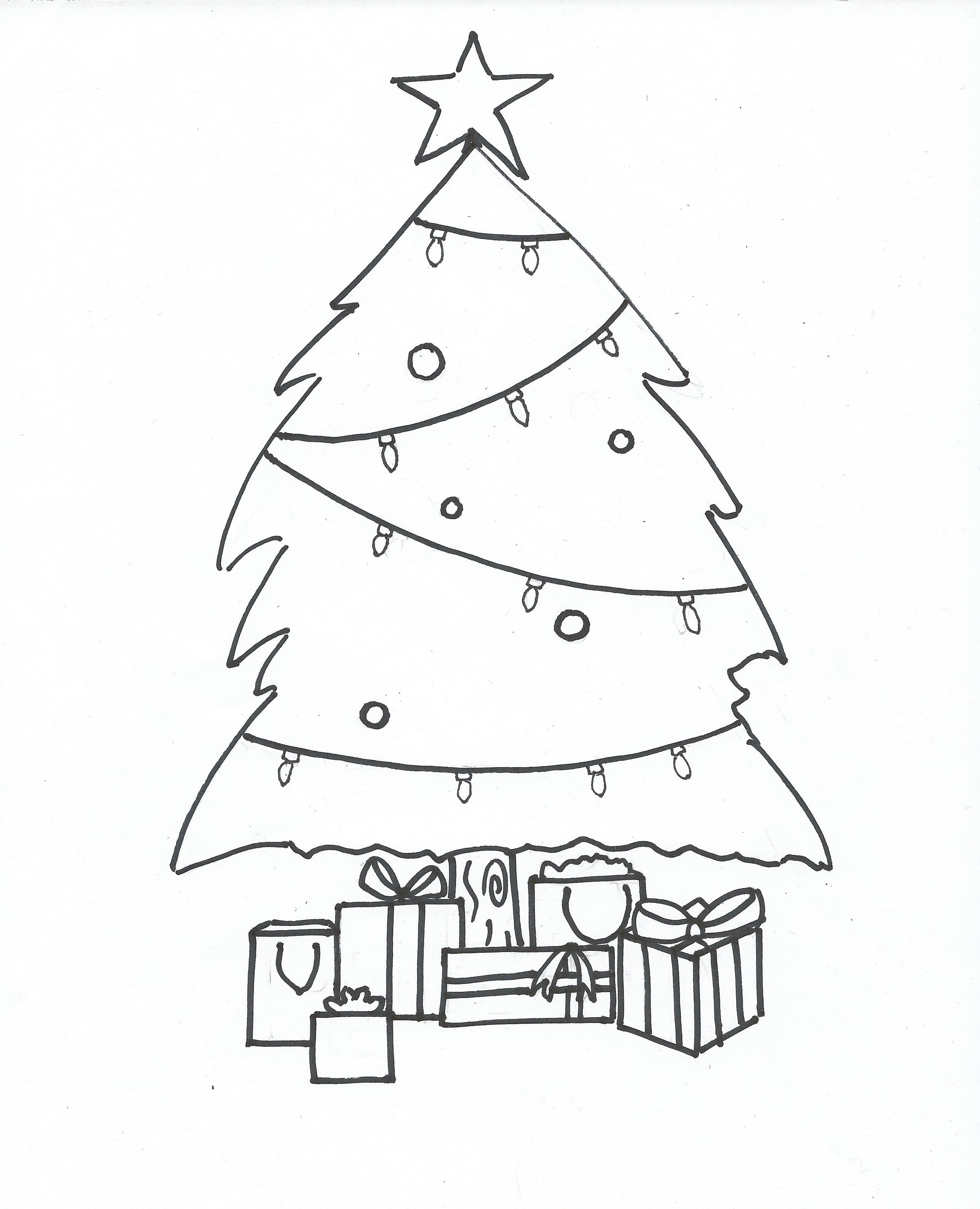 Coloring pages christmas tree blank christmas tree coloring pages -  Free Printable Coloring Page Christmas Tree