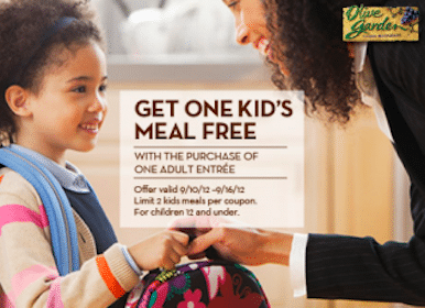 FREE Kids Meals at Olive Garden TODAY