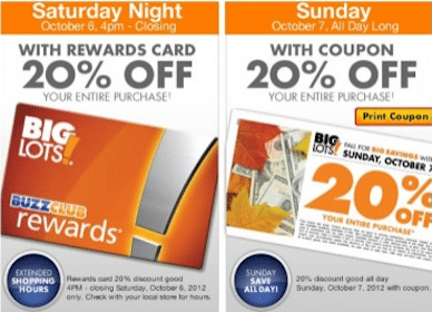 20% off Your Entire Purchase at Big Lots (Coupon)