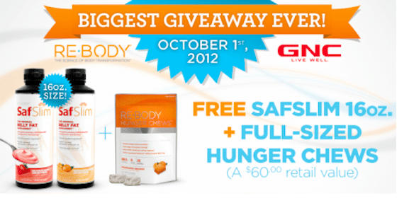 FREE SafSlim AND Full Size Bag of Re-Body Hunger Chews ($60 Value – 1st 10,000!)