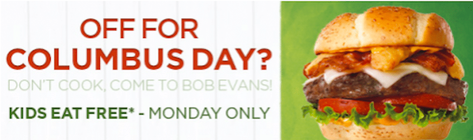 FREE Kids Meals at Bob Evans Today (10/8)