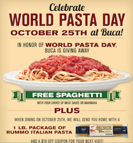FREE Individual Portion of Spaghetti at Buca di Beppo + More!