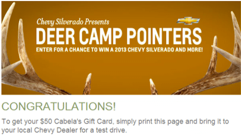 Test Drive at Local Chevy Dealer = FREE $50 Cabela's Gift Card