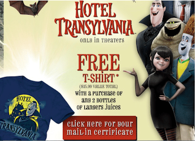 FREE Hotel Transylvania T-Shirt With Purchase of 2 Langers Juice Bottles (Any Size!)