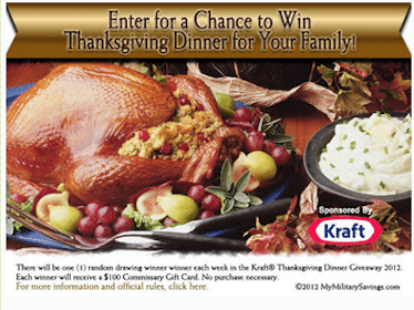 Win a Kraft Thanksgiving Dinner (Military Only)