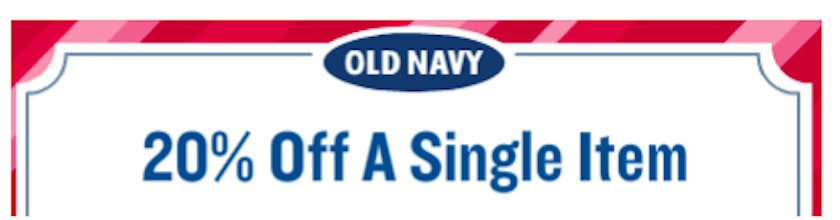 Save 20% Off Single Item at Old Navy (Coupon)
