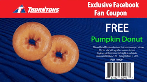 FREE Pumpkin Donut at Thorntons Stores