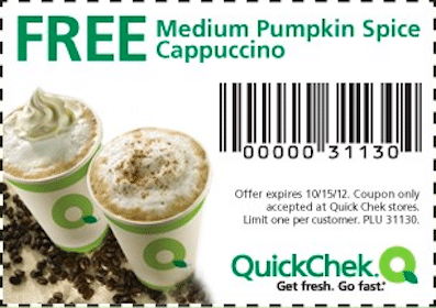 FREE Medium Pumpkin Spice Cappuccino at Quick Chek