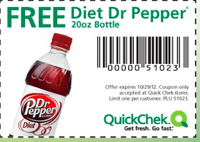 FREE 20 oz Diet Dr Pepper at Quick Chek