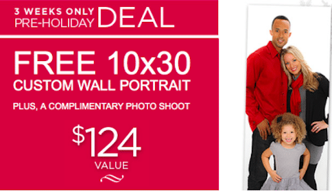 FREE 10×30 Custom Wall Portrait & Photo Shoot from Sears Portrait Studio ($124 Value!)