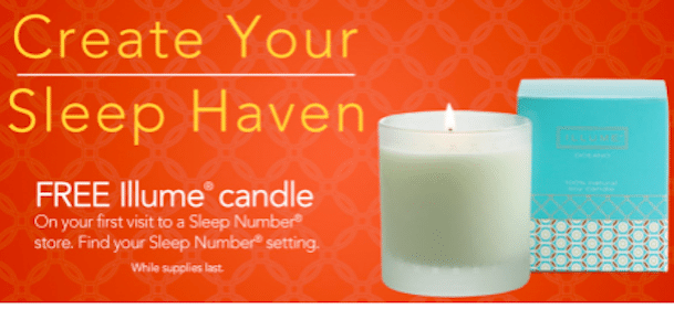 FREE Illume Candle in Sleep Number Stores