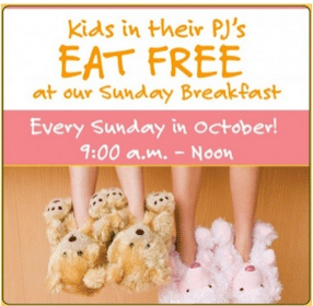 FREE Breakfast for Kids in PJ's at Sweet Tomatoes & Souplantation in October