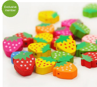 20 FREE Strawberry Charm Pendant Wooden Beads