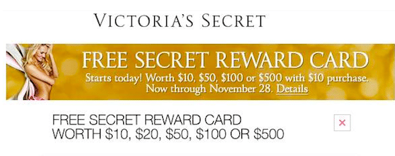 Victoria's Secret Reward Cards are Back! (In-Store & Online 10/30-11/28)