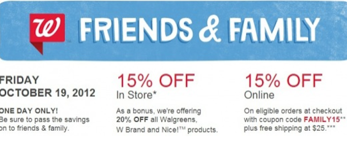 Save 15% Off Your Purchase at Walgreens on 10/19