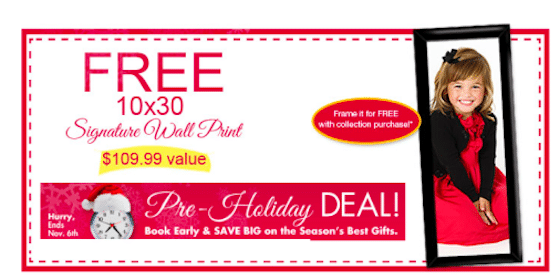 FREE 10×30 Signature Wall Print from Walmart Portrait Studios ($109.99 Value!)