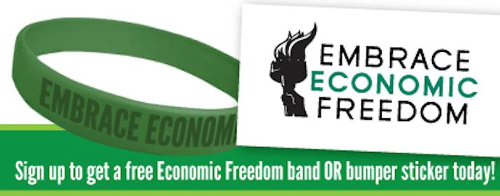 FREE Economic Freedom Wristband or Sticker