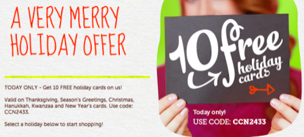 *HOT* 10 FREE Holiday Cards + FREE Shipping (Today Only!)