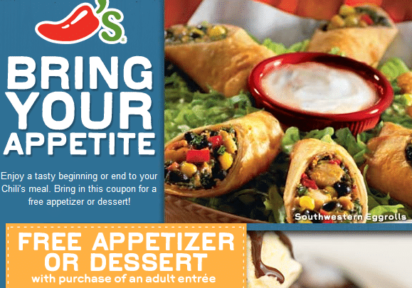 FREE Dessert or Appetizer from Chili's (Facebook)