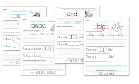 Kindergarten Pre-Primer Sight Word Sentence Worksheets
