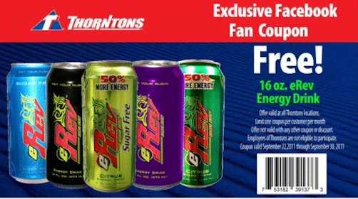 FREE eRev Energy drink at Thorntons stores