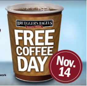 FREE Cup of Coffee at Bruegger's TODAY (11/14)