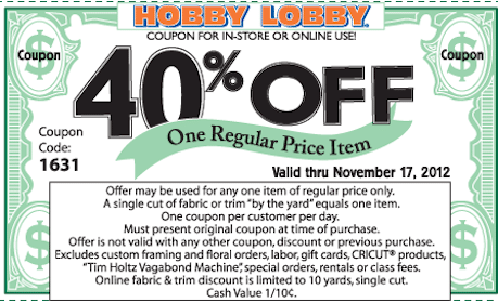 Save 40% off any Item at Hobby Lobby (Coupon)