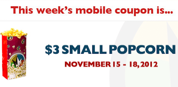 Regal Cinemas Mobile Coupon: Save $3 off Popcorn