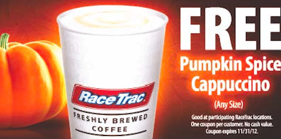 FREE Pumpkin Spice Cappuccino at RaceTrac Stores