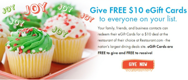 Feed It Forward Holiday Offer from Restaurant.com: Give $10 eGifts to Your Friends for FREE