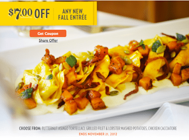 Save $7 Off ANY New Fall Entree at Romano's Macaroni Grill (Through 11/21)