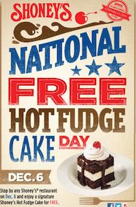 Hot Fudge Cake at Shoney's on December 6th