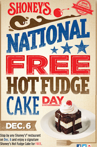 Hot Fudge Cake at Shoney's on December 6th