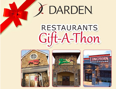 LIVE at 1 p.m. EST: Gift FREE $5 Darden Restaurant Gift Card (1st 500 Only)