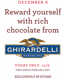 Ghirardelli Chocolate at Banana Republic Stores Today (December 6th)