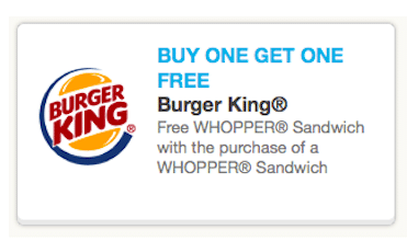 BOGO Burger King Whopper (Coupon)
