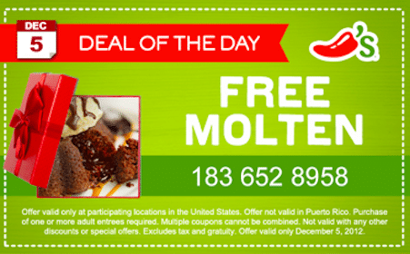 Molten Cake at Chili's (Today, 12/5 Only)