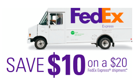 Save $10 on $20 FedEx Express Shipment