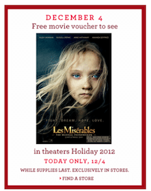 Les Miserables Movie Voucher From Banana Republic Stores (Limited Quantities!)