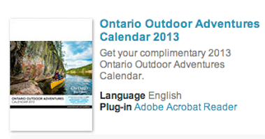 2013 Ontario Outdoor Adventures Calendar