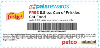 Petco Free Friskies Cat Food