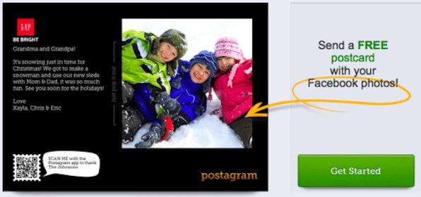 Send 2 Postcards with Facebook Photos