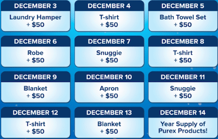 Win Cool Prizes + $50 Cash in the Purex 12 Days of Giveaways