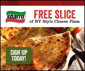 FREE FOOD: Sbarro NY Style Cheese Pizza Slice Printable Coupon