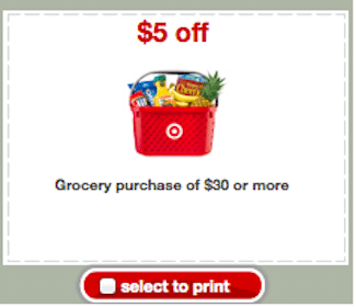 *Rare* $5 Off $30 Target Grocery Purchase Coupon
