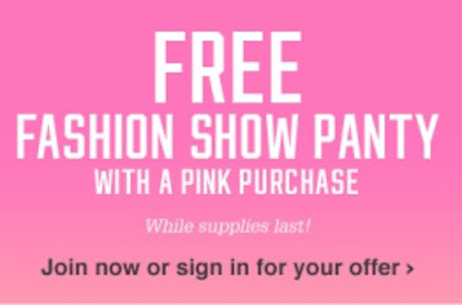 Panty With PINK Purchase from Victoria's Secret (Coupon)