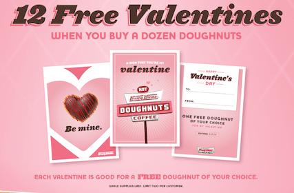 12 FREE Valentines from Krispy Kreme When You Purchase a Dozen Doughnuts
