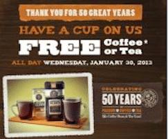 Coffee or Tea at The Coffee Bean & Tea Leaf on 1/30