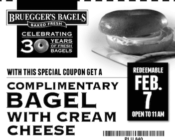 Bagel w/ Cream Cheese at Bruegger's on 2/7